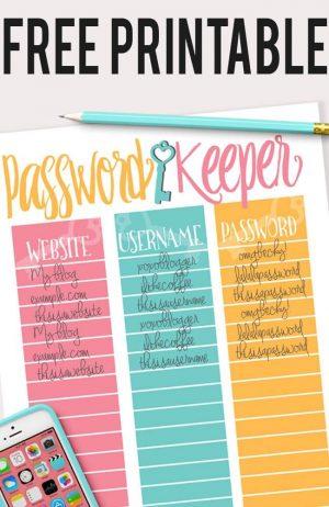 Free Printable Password Keeper