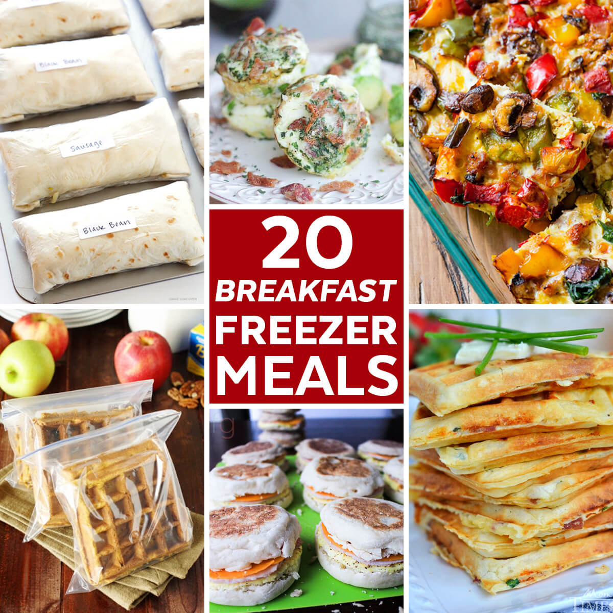 Compilation of photos showing different breakfasts that work well for storing in the freezer.