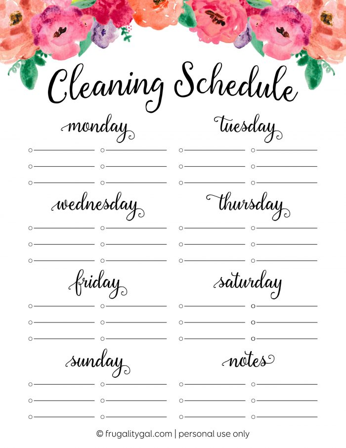 cleaning schedule printable with flowers