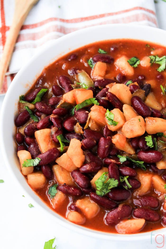 Puerto Rican Recipes - Puerto Rican Habichuelas Guisadas Recipe - A hearty meatless meal that's the perfect easy dinner idea for a weeknight meal!