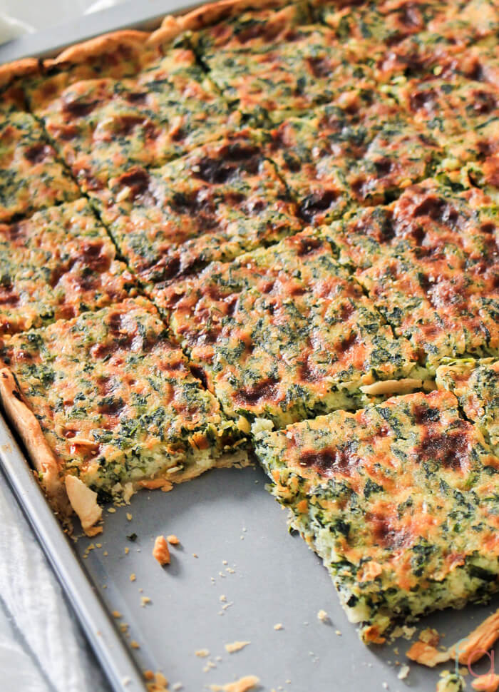 Spinach and Ricotta Savory Slab Pie