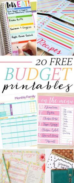 Free Printables - 20 Free Budget Printables