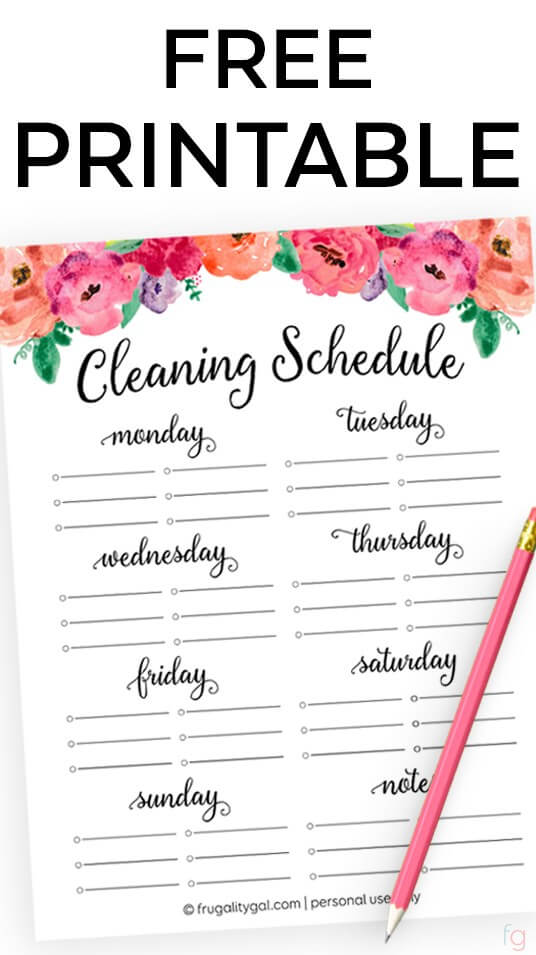 free printable cleaning schedule - Printable Printable