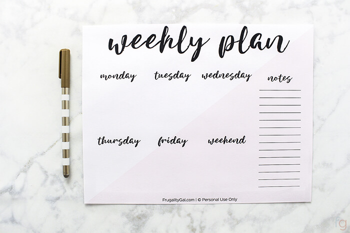 graphic relating to Free Weekly Planner Printable identified as Absolutely free Weekly Planner Printable - A5 50 percent letter + Letter Dimensions