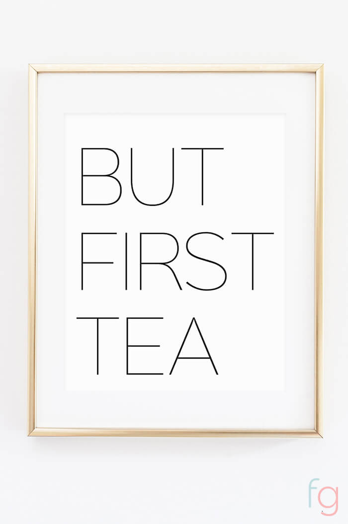 Free Printable Wall Art | Apartment Kitchen Decor Ideas | Free Printable Kitchen Art | Free Kitchen Printables Black and White | But First Tea | Kitchen Gallery Wall Printables
