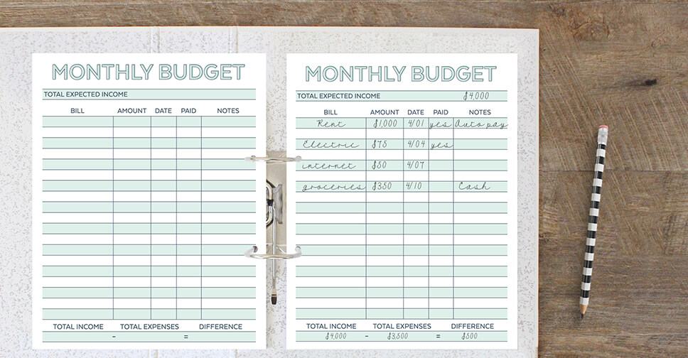 Monthly Budget Planner Free Printable Budget Worksheet