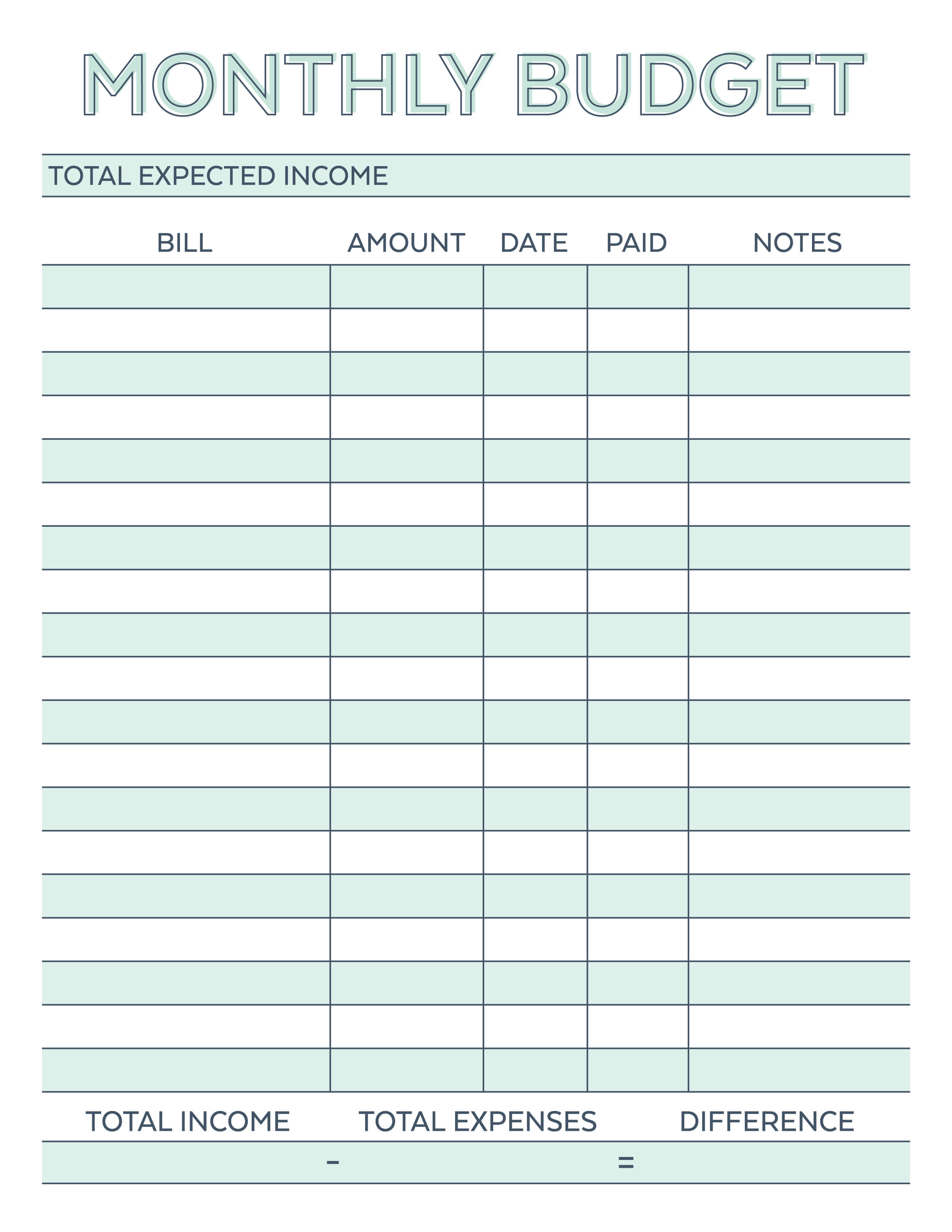 Printable Household Budget Worksheets : Free printable monthly budget planner worksheet