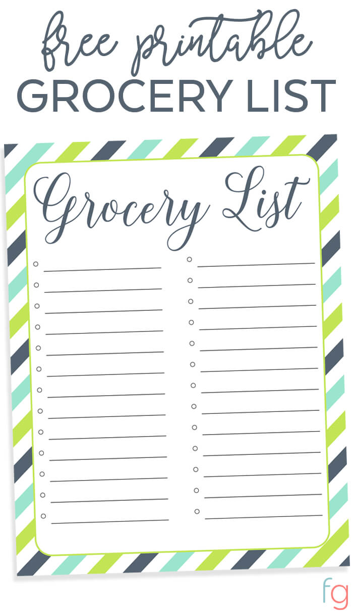 Free Printable Grocery List FREE Organizing Printable