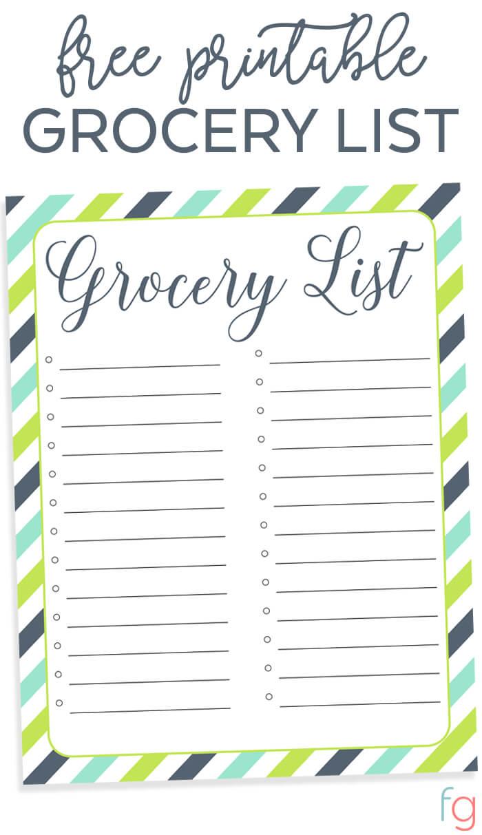cute grocery list template