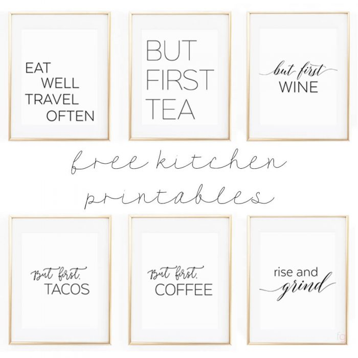Adorable kitchen wall art printables with cute sayings in gold frames