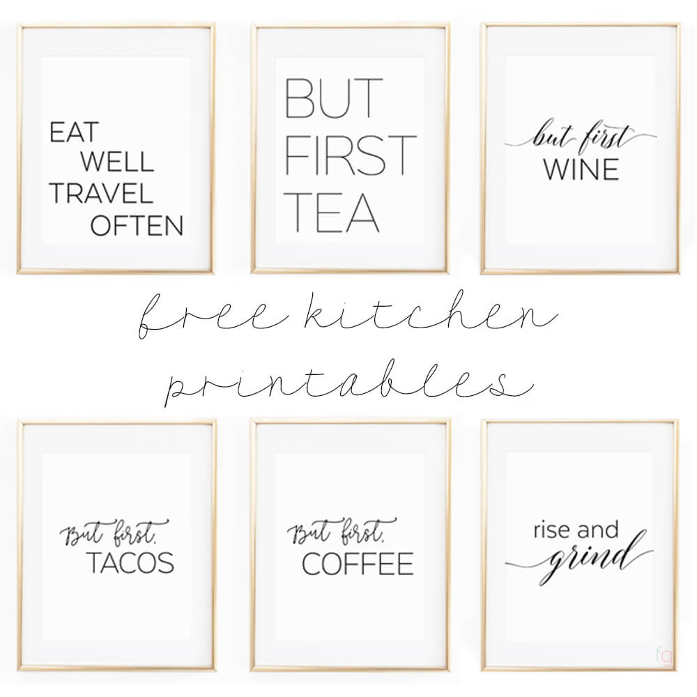 Free printable kitchen wall art 8x10 set of six prints for Art prints for kitchen wall