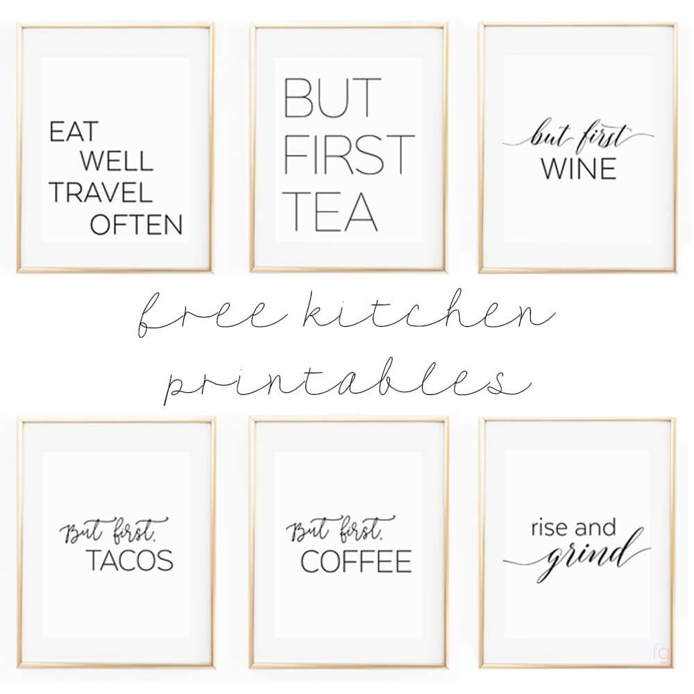"Free Printable Kitchen Wall Art - 8x10"" Set of Six Prints"