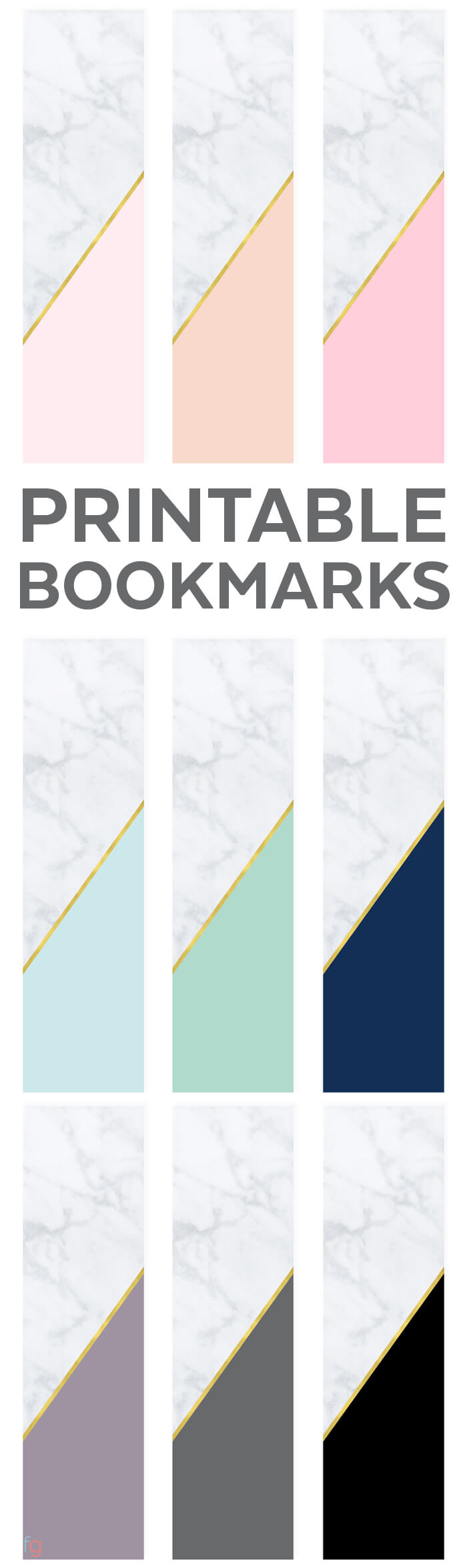 Bookmarks Printable | Free Printable Bookmarks Free | Book Lovers | Free Printable Bookmarks for Adults | Modern Printables | Marble and Gold