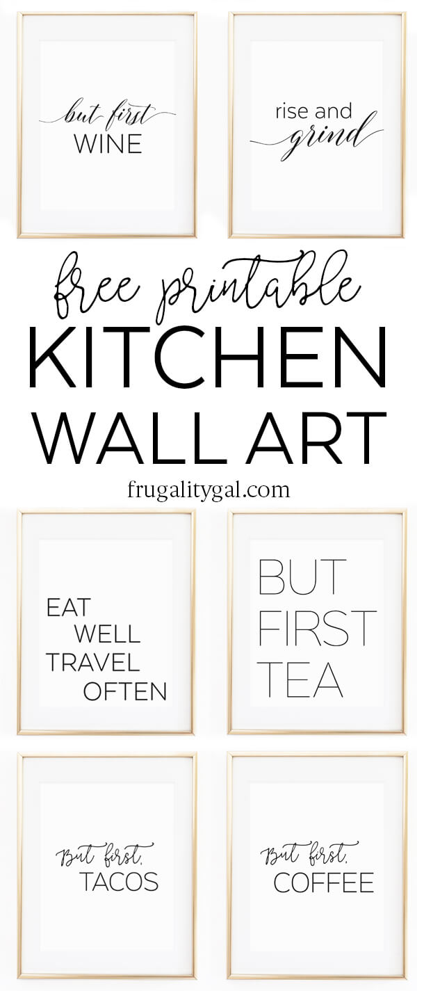 Beautiful Kitchen Gallery Wall Printables | Free Printable Wall Art | Apartment  Kitchen Decor Ideas | Free