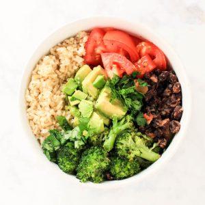 vegan buddha bowl loaded with fresh veggies