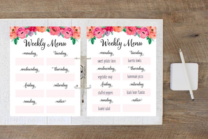Weekly Meal Plan Printable Free Printable Weekly Meal Planner - Menu Plan Printable - Menu Planning Printable - Free Printables for Home - Organizing - Organization Ideas