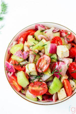 Tomato Cucumber and Onion Salad