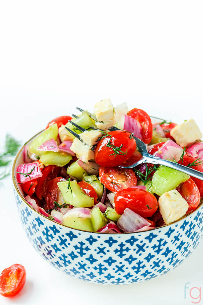 Tomato Cucumber and Onion Salad Recipe with Vinegar and Oil Dressing