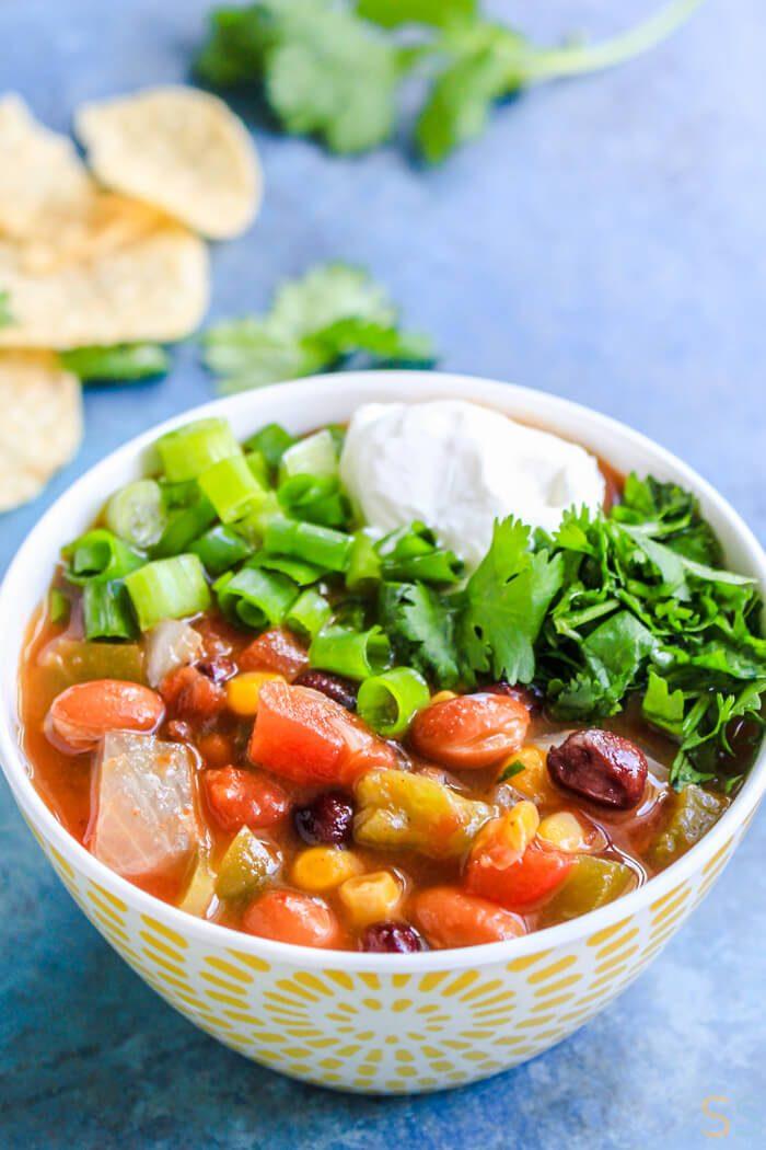 Slow Cooker Taco Soup Recipe CrockPot - Vegetarian Taco Soup Crock Pot - Slow Cooker Vegetarian Recipes - Slow Cooker Soup Vegetarian - Crockpot Recipes Easy Dinner - Slow Cooker Vegetarian Taco Soup Recipe