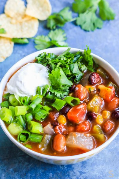 Slow Cooker Taco Soup Recipe CrockPot - Vegetarian Taco Soup Crock Pot - Slow Cooker Vegetarian Recipes - Slow Cooker Soup Vegetarian - Crockpot Recipes Easy Dinner - Slow Cooker Vegetarian Taco Soup Recipe