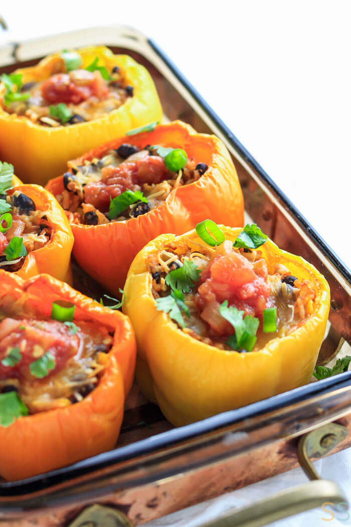 Mexican Stuffed Bell Peppers - Vegetarian on a sheet pan