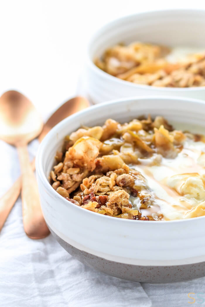 Melted vanilla ice cream and the baked apple crisp work perfectly together in this white bowl.