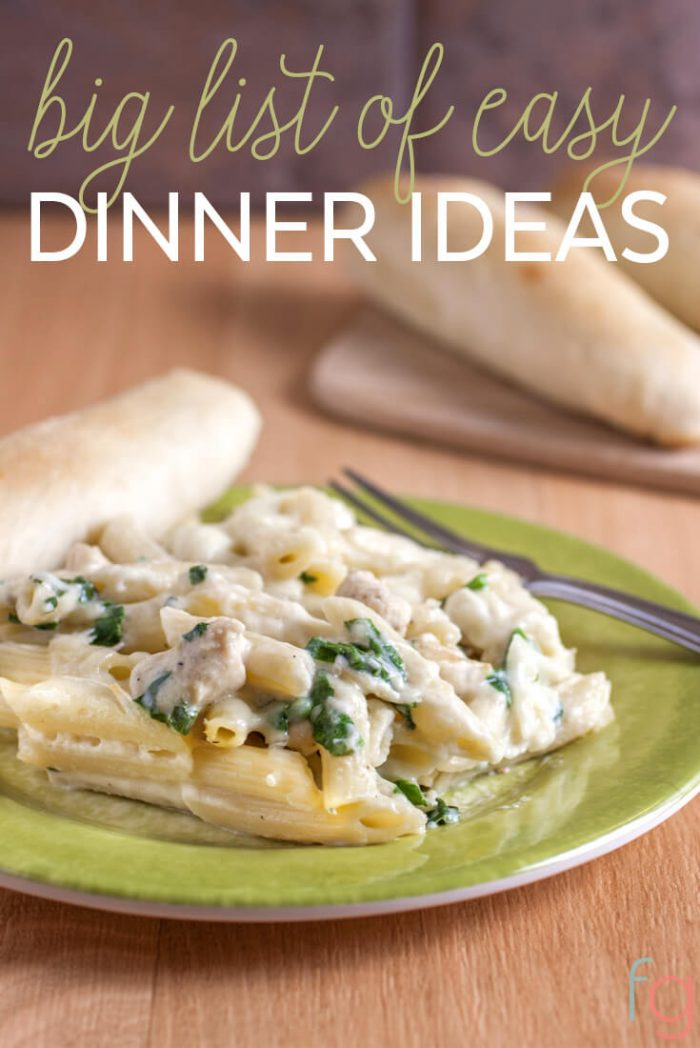 250 Easy Dinner Ideas | Never run out of meal planning inspiration again with this big list of easy dinner recipes perfect for weeknight meals!