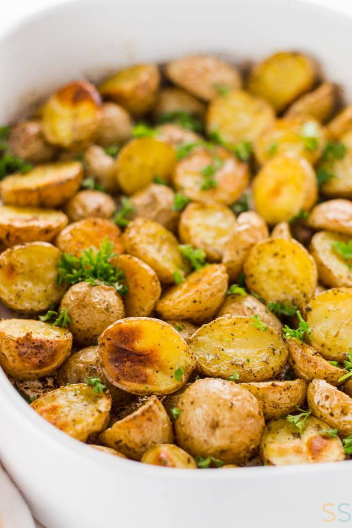These oven roasted potatoes are crispy on the outside, buttery soft on the inside and make the perfect side dish for any occasion.