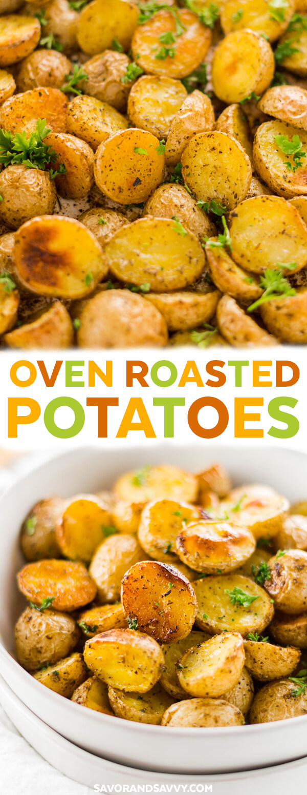 This crispy oven roasted potatoes recipe is ready in under an hour, and is the perfect vegetarian side dish recipe. Whether it's a Christmas or Thanksgiving side dish or just something you're throwing together for an easy weeknight dinner.