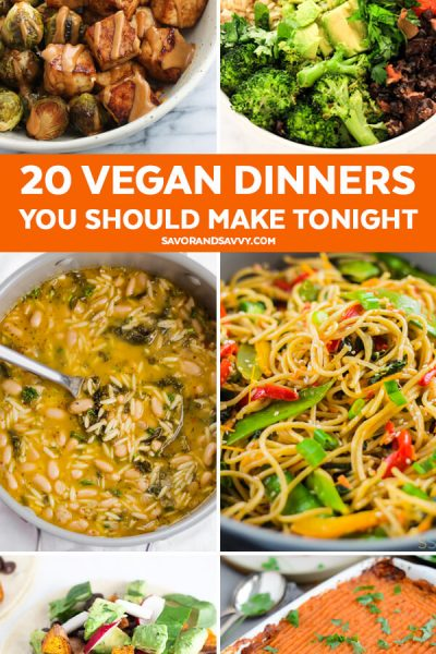 Here are 20 vegan dinners you should make tonight! Shake up your usual meal plan and get inspired by these easy dinner ideas that'll become some of your favorite easy vegan recipes.