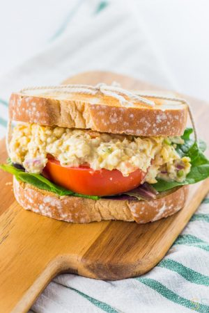 This Vegan Chickpea Tuna Salad Recipe is a close vegan replacement to actual tuna salad. It's tangy, thick and makes a mean chickpea tuna salad sandwich.