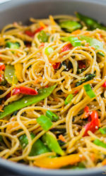Enjoy your favorite takeout dish with this vegetable lo mein recipe. This veggie packed 25 minute meal will become a family favorite!