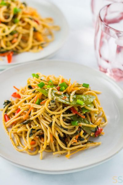 This 25 minute vegetable lo mein recipe is the perfect weeknight dinner fix. It's quick, easy and you can enjoy your favorite takeout dish without leaving home!