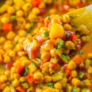 Easy Vegan Chickpea Stew - One of my favorite chickpea recipes! These stewed chickpeas are packed full of flavor and is an easy budget vegan meal.