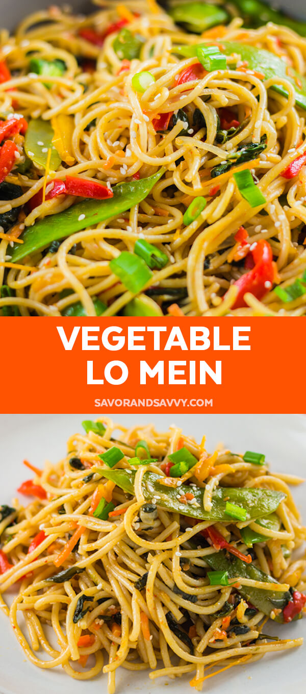 Quick and easy vegetable lo mein recipe. This under 30 minute meal comes together quickly and will become one of your favorite homemade takeout recipes.
