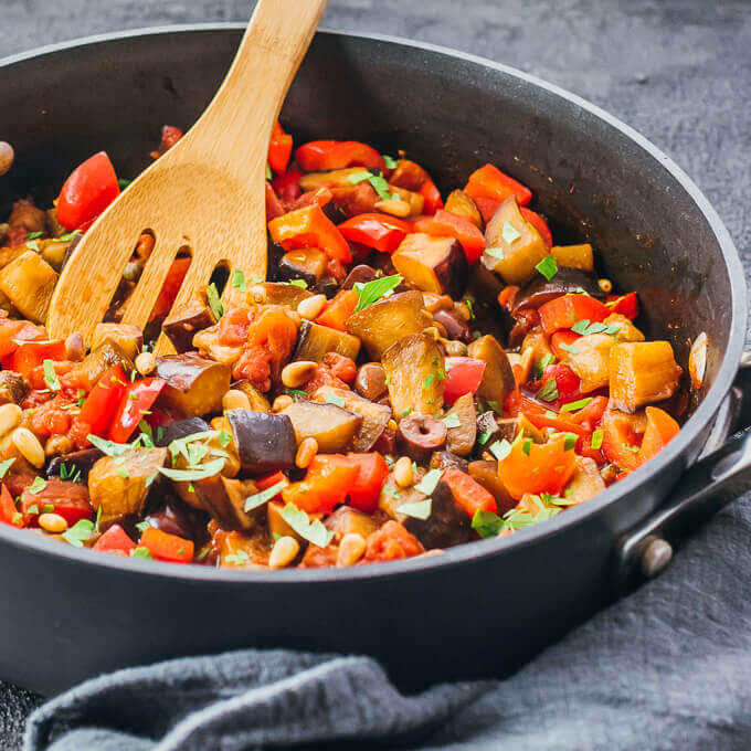 Eggplant Caponata Skillet - 20 Vegan Dinners You Should Make Tonight