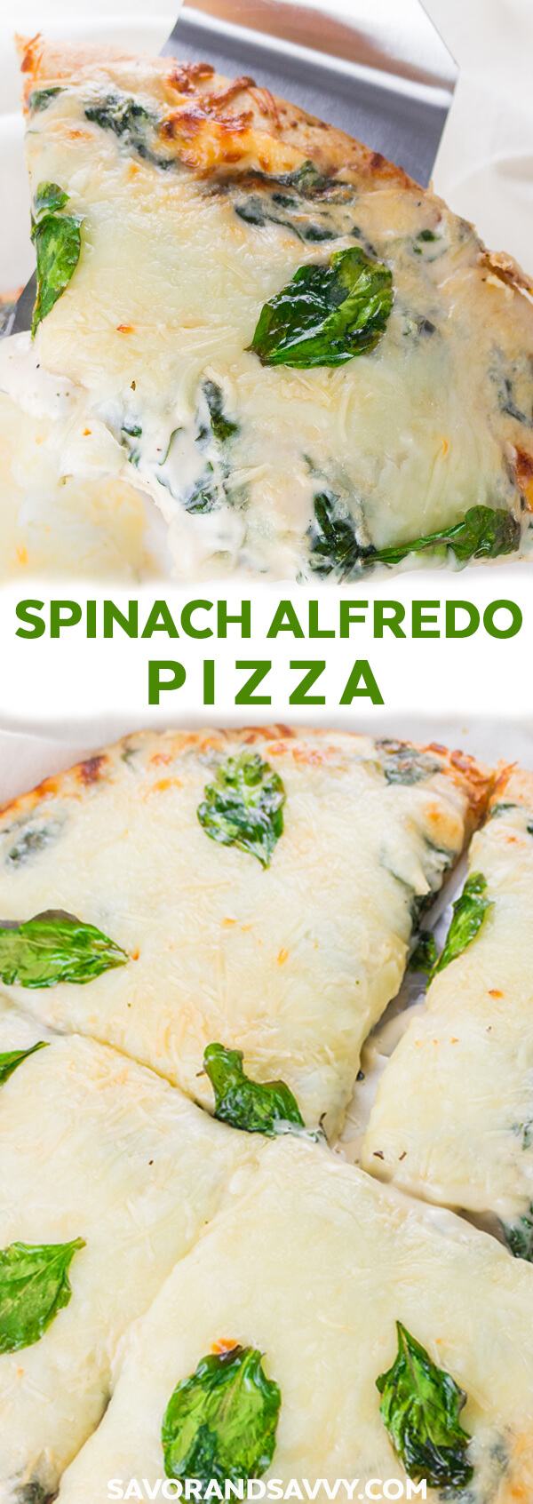 This Spinach Alfredo Pizza recipe is one of the easiest 20 minute meals to make for an easy weeknight dinner!