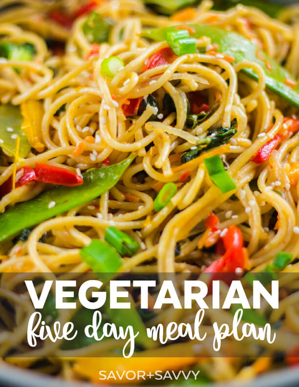 This free vegetarian meal plan includes five days of dinners. Everything's planned out for you and it includes a printable grocery list and full recipes! It can also easily be made vegan by swapping a few ingredients.