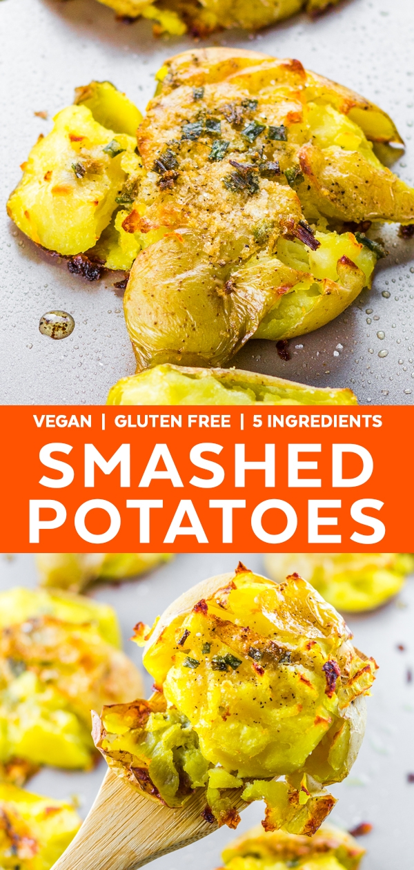 These smashed potatoes baked in oven are such a great and easy side dish they may steal the whole show! This smashed potatoes recipe is crispy, salty and crave-able! Makes a great holiday recipe as a christmas side dish #smashedpotatoes #potatoes #vegan #recipe #veganrecipes #vegetarianrecipes #vegetarian #sidedish