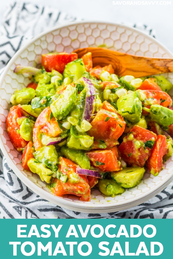 This avocado tomato salad recipe is the perfect salad you'll be serving up all summer. It's tangy, fresh, slightly creamy thanks to the avocados and goes great with everything.