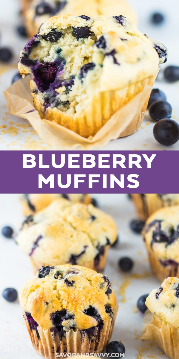 Simplify breakfast with this freezer friendly blueberry muffin recipe. These easy blueberry muffins are slightly sweet, slightly tart and make a great make ahead breakfast idea! #blueberrymuffins #muffins #breakfast #freezermeal