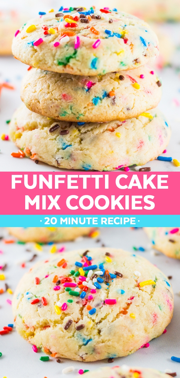 These funfetti cake mix cookies are perfect when you're craving an easy dessert, but don't want to put in a whole lot of effort to make it. In just 20 minutes you can have these soft, pillowy funfetti cookies made from cake mix!