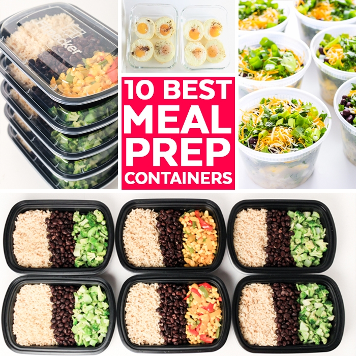 several meal prep containers with rice, beans and veggies.