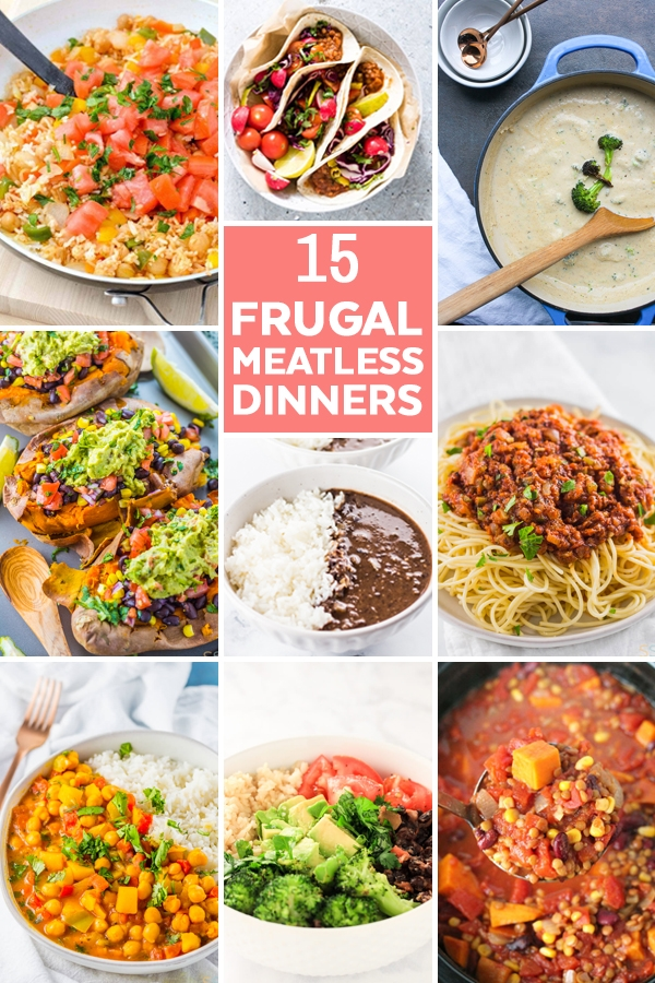 Looking for frugal dinner ideas? These 15 meatless dinner ideas are the perfect meatless meals to keep your tastebuds happy while serving budget friendly frugal meals!