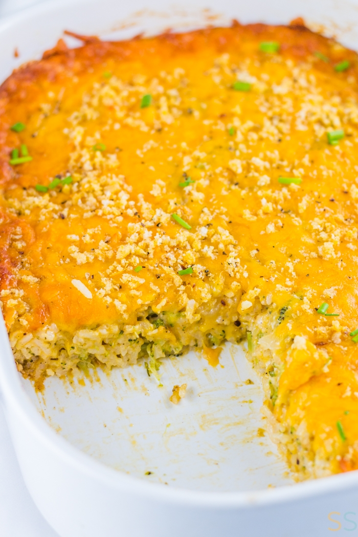 This cheesy broccoli rice casserole recipe is an easy side dish or dinner idea that's a perfect holiday recipe! This broccoli cheese casserole with rice takes just 45 minutes to make, making this a perfect weeknight easy dinner idea.