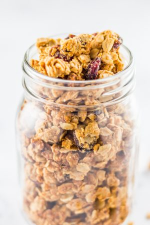 homemade granola using peanut butter. Almond butter can be substituted