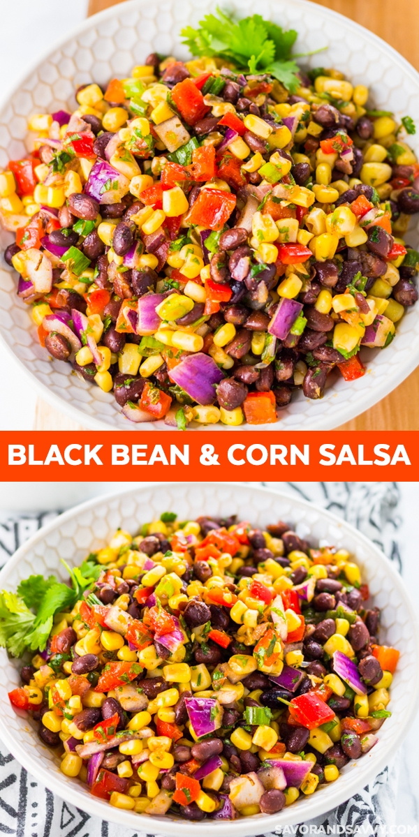 This Black Bean Corn Salsa Recipe is perfect for game day served with chips. Or, use this vegan black bean salad recipe as a tasty addition to your homemade burrito bowl.