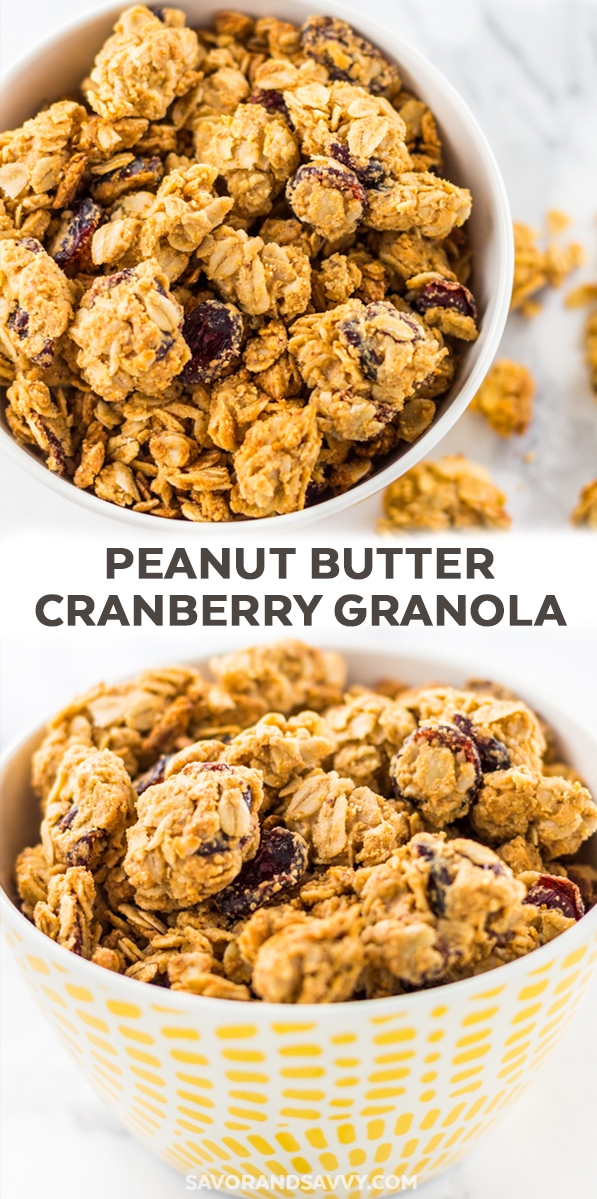 Easy Breakfast Ideas - This cranberry peanut butter granola recipe has only 186 calories per serving. This 20 minute homemade granola recipe is full of tasty peanut butter clusters and has only four ingredients!