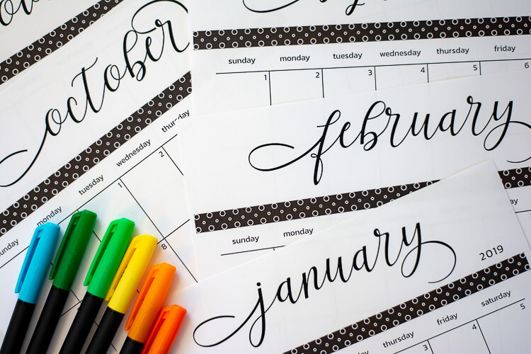 Free Printable Calendar for 2019 with the Dates Filled Out
