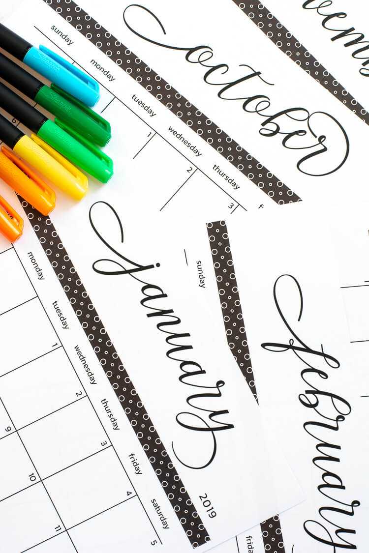 Gorgeous Printable Calendar Pages